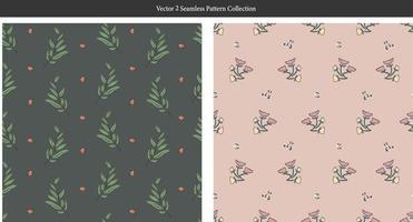 retro outline tree small flower illustration seamless pattern vector