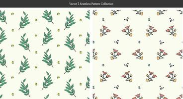 retro leaf and small wild flower illustration motif seamless pattern vector