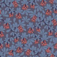 Vector red berry fruit tree and leaf illustration seamless pattern