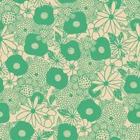 Scandinavian flower bouquet outline illustration seamless pattern vector