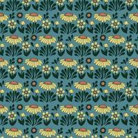 Vector retro Scandinavia flower the sun illustration seamless pattern