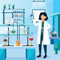 Character design of Scientist in Laboratory vector
