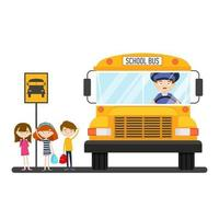School bus with driver on the bus stop with children vector