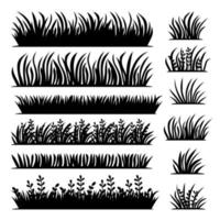 Vector tufts of grass in black color