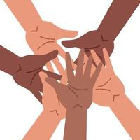 Hands of diverse group of people putting together vector