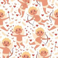 Valentines Day cupid and hearts seamless pattern vector