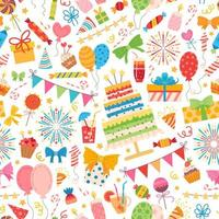 Kids party elements pattern. For birthday party vector