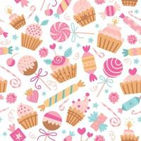 Vector seamless pattern with candies. Sweet candy