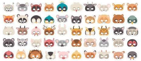 Set of photo booth props masks of wild and domestic animals. vector