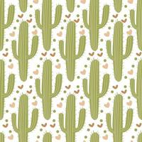 Vector seamless pattern with green cute cactus.
