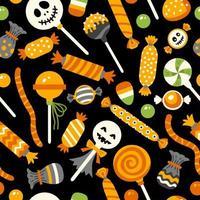 Happy Halloween sweet pattern. Holiday dessert set vector