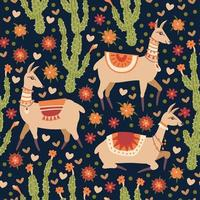 Vector seamless pattern with Llama and cacti.
