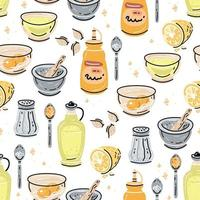 Aioli sauce seamless pattern with ingredients on white background vector