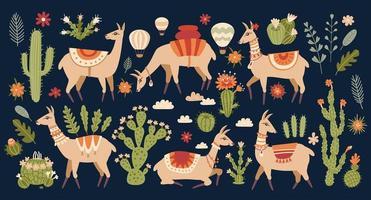 Lama set in cartoon style. Llama and cacti. vector