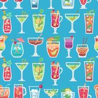 Retro Alcoholic fruit drinks seamless pattern for wallpaper design. vector