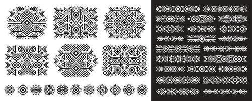 Navajo elements set in boho style on white and bla vector