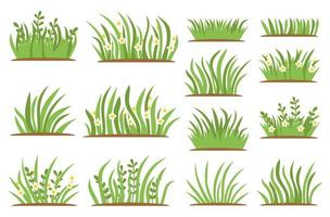 Green Grass flat icon set. Isolated on white background vector