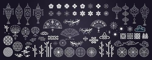 Collection of hand drawn decorative elements in asian style vector