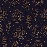 Magic boho symbols seamless pattern. Golden minimal line art. vector