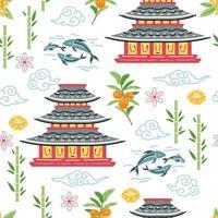 Japanese pagoda seamless pattern for wallpaper design vector