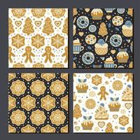 Scrapbook cookies pattern. Set of sweet prints vector