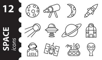 Space line icons set. Galaxy, planet. Vector illustration.