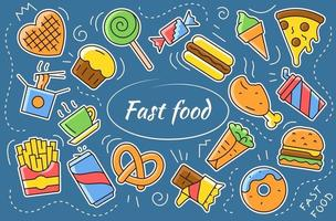 Fast food cartoon sticker collection. Set of street food vector icons.