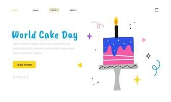 World Cake Day. Landing page template. Hand drawn birthday cake. vector
