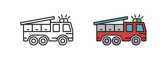 Fire truck icon in the vector. Transport symbol. Sign is linear style. vector