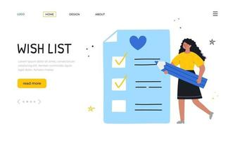 Wishlist. Landing page template. African girl writing down her wishes. vector