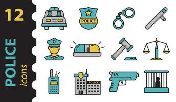 Police icons in the color. Set of vector linear symbols.