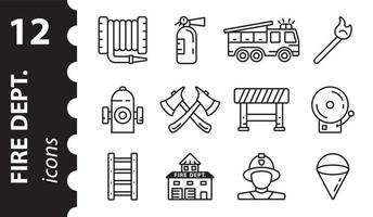 Firefighter icons in vector. Set of Fire station linear signs. vector