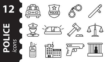Police icons in linear style. A set of vector line symbols.
