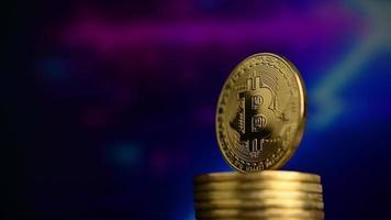 bitcoins avec fond de science-fiction video