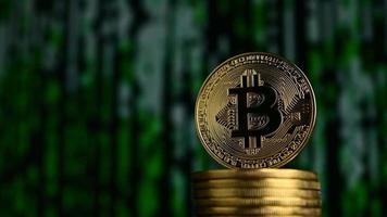bitcoin avec fond vert futuriste video