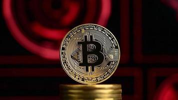 bitcoin avec fond rouge foncé futuriste video