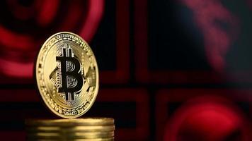 bitcoin avec fond futuriste rouge video