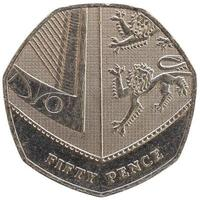 50 pence coin, United Kingdom isolated over white photo