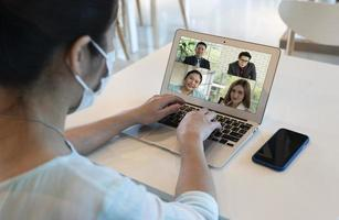 businesswoman video call with with clients during covid 19  outbreak photo