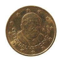Moneda de 50 céntimos de euro con el Papa foto