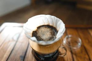 dripping coffee and slow coffee at home photo
