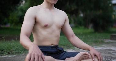 Man Doing Yoga Meditation Outdoors video