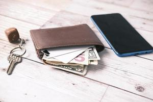 close up of wallet, cash and credit card on table photo
