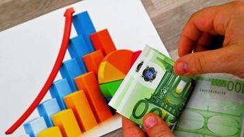 Billetes de 100 euros con gráficos estadísticos video