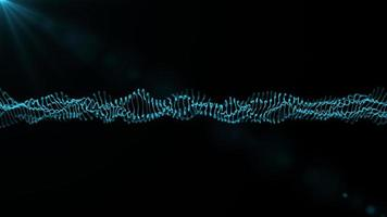 Blue spinning wave particles technology concept photo