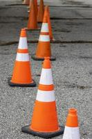 Several traffic cones at the construction site photo