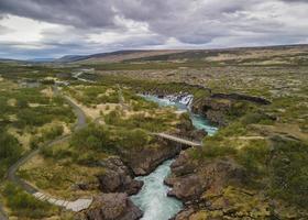 Pintoresco paisaje de barnafossar vista aérea en Islandia foto