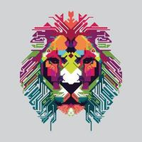 Colorful lion head vector