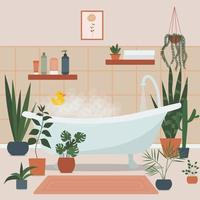 Cozy bathroom interior with bath full of foam, bath accessories vector