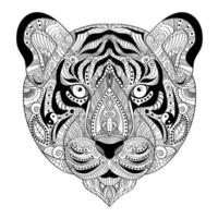 Hand drawn tiger for adult antistress coloring page vector